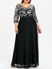 Plus Size Sequined Prom Dress