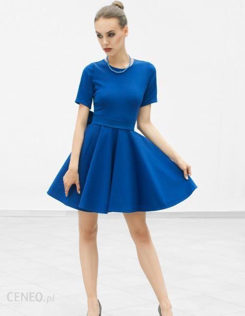 361d98784d Sukienka rozkloszowana z kokardą niebieska - Ceny i opinie - Ceneo.pl