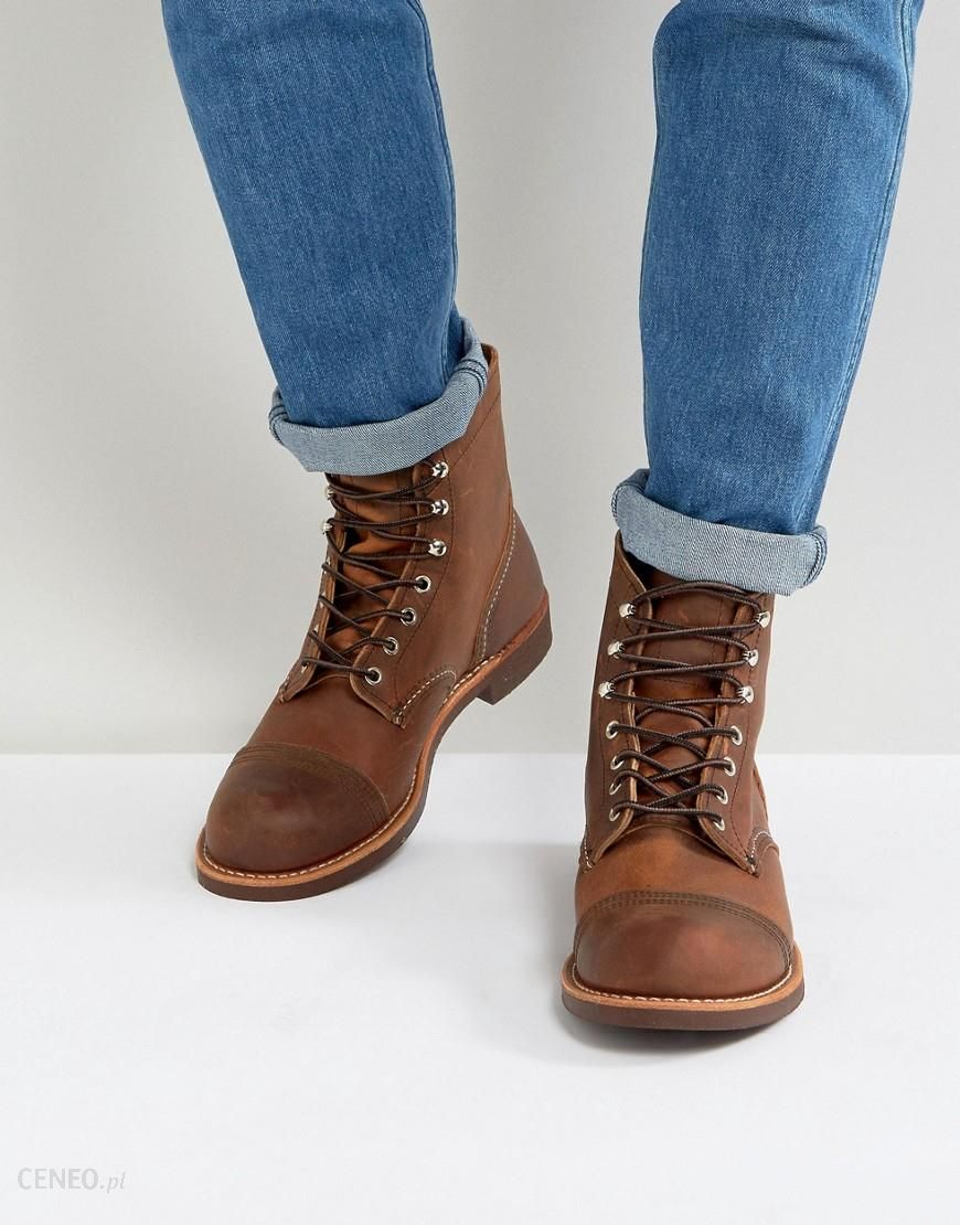 Red Wing Iron Ranger Leather Lace Up Boots In Copper Brown Ceneopl