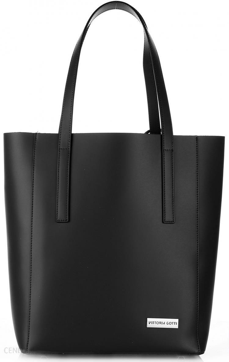 28c2bd9238686 Vittoria Gotti Torebki Skórzane z kosmetyczką Elegancki Włoski ShopperBag  XL Czarna (kolory) - zdjęcie