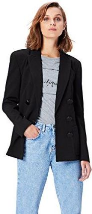 Amazon FIND Damen Relaxed Fit Doppelreihiger Blazer Schwarz (Black), 38 (Herstellergröße: Medium)