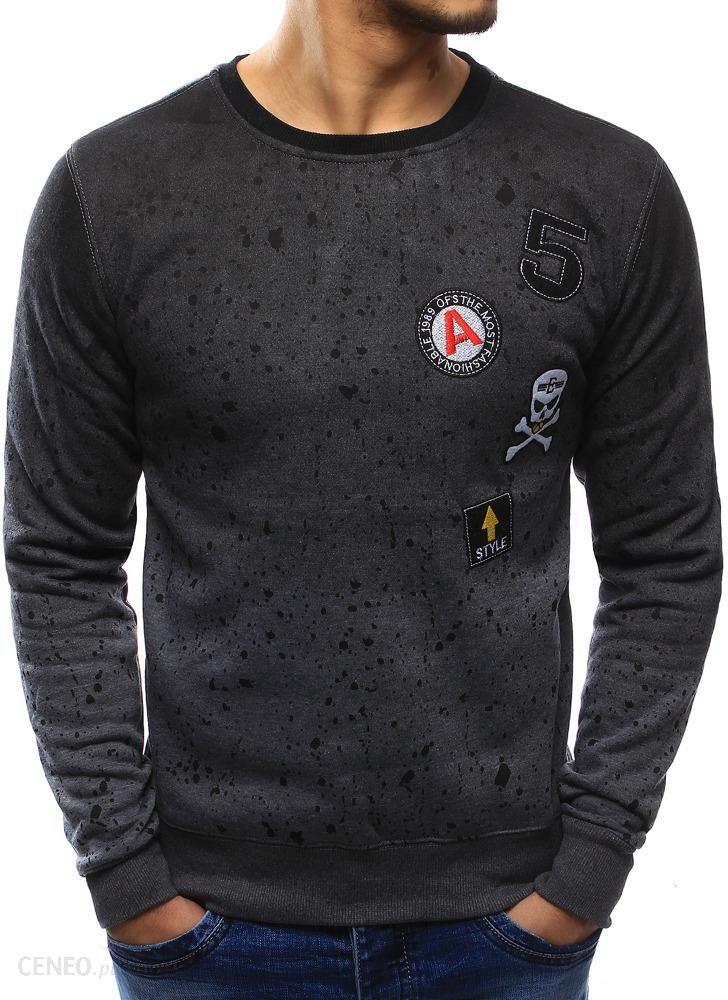 Bluza męska z nadrukiem i naszywkami antracytowa (bx3401) Antracytowy