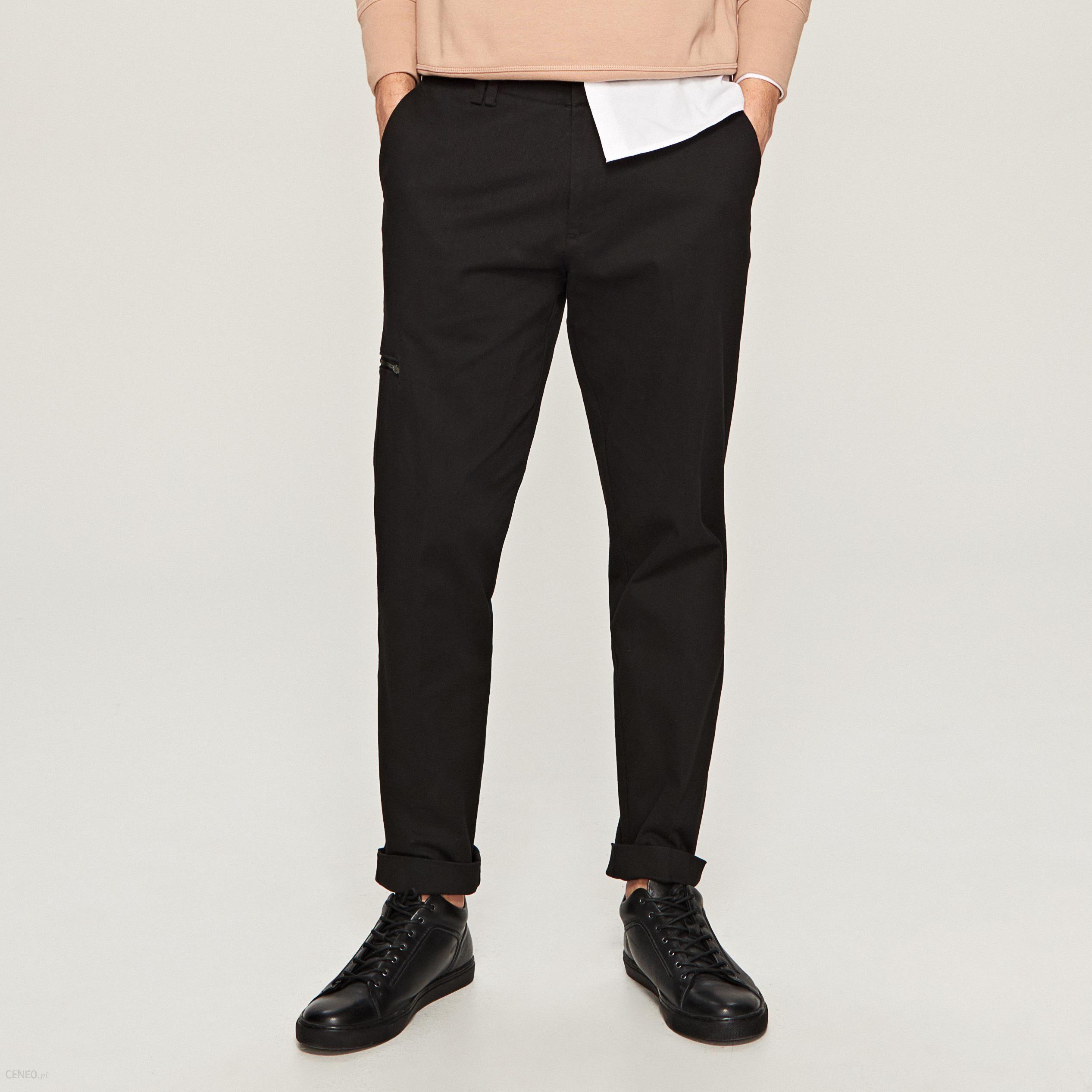8705a5030dde34 Reserved - Eleganckie spodnie carrot fit - Czarny - Ceny i opinie ...