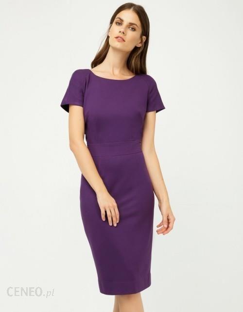 f8e66e5b82 Sukienka dopasowana krótki rękaw ciemny fiolet - Ceny i opinie ...