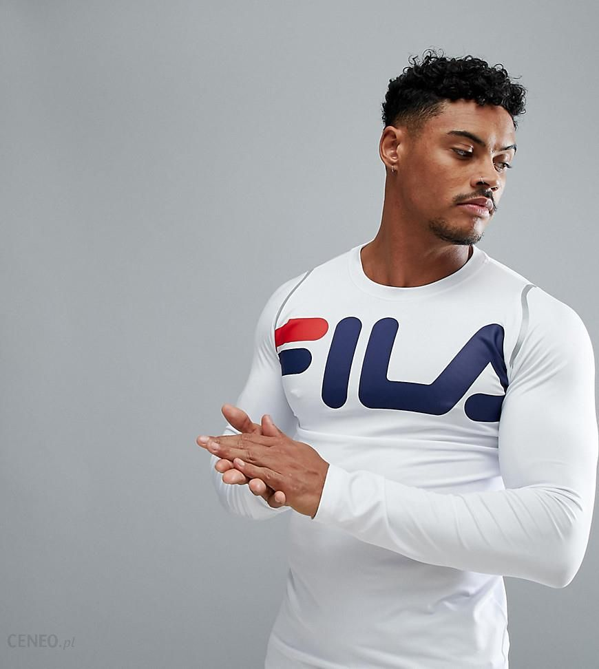 Fila Black Line Sport Compression Long Sleeve T Shirt With Large Logo In White White Ceneo.pl