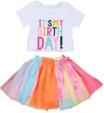 f2016efd78 Amazon ubrania dziecięce dziewczęce Mode urodziny haftem z krótkim rękawem  T-Shirt sukienka + tęcza Tutu longra dziecko Rock zestaw strojów sukienki l