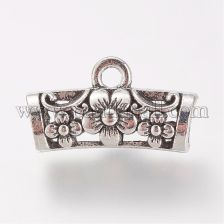 Tibetan Style Alloy Hanger Links, Hollow Tube Scarf Bail Beads, Lead Free & Cadmium Free, Antique Silver, 10.5x19x7mm, Hole: 2mm & 4.5mm; about 640pcs