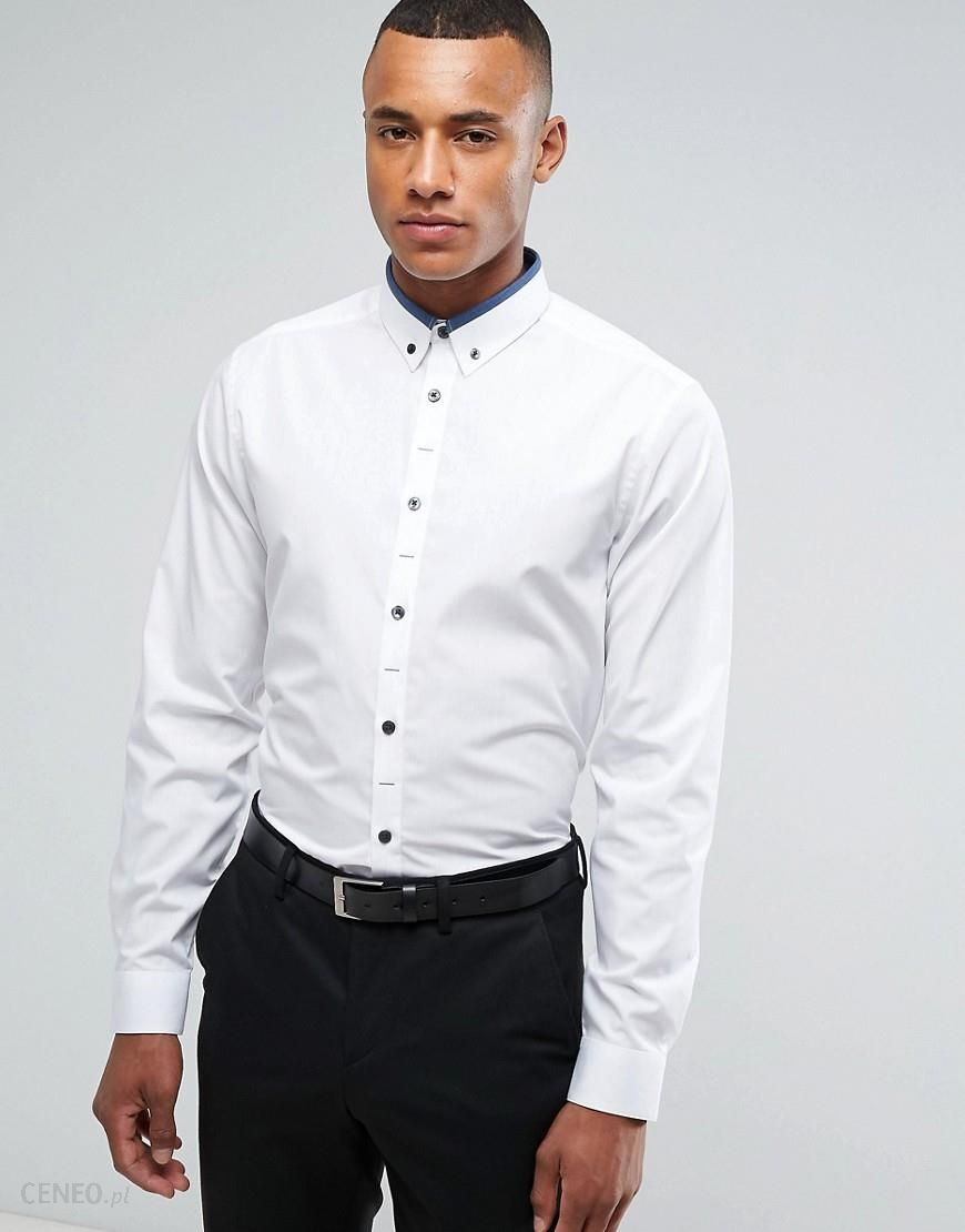 a67ae46fd0d New Look Regular Fit Shirt With Navy Contrast Collar In White - White - zdjęcie  1