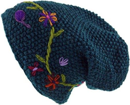 3777d2c7918e55 Amazon GURU-Shop wollbeanie z kwiatem haftem – szary, męski/damski, wełna,  : one size, czapek alternatywą dla odzieży - jeden Petrol