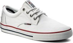 2ec007cb3dd16 Tenisówki TOMMY HILFIGER - JEANS Tommy Jeans Textile Sneaker EM0EM00001  White 100 eobuwie. Trampki męskie ...
