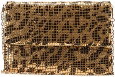 Missguided LEOPARD CHAINMAIL CLUTCH BAG Kopertówka gold