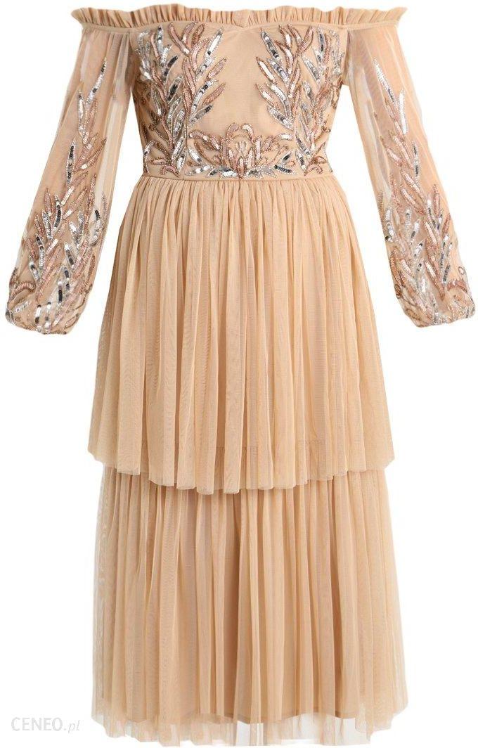 0e9f1b4d9b Maya Deluxe BISHOP SLEEVE BARDOT DRESS Sukienka koktajlowa nude - zdjęcie 1