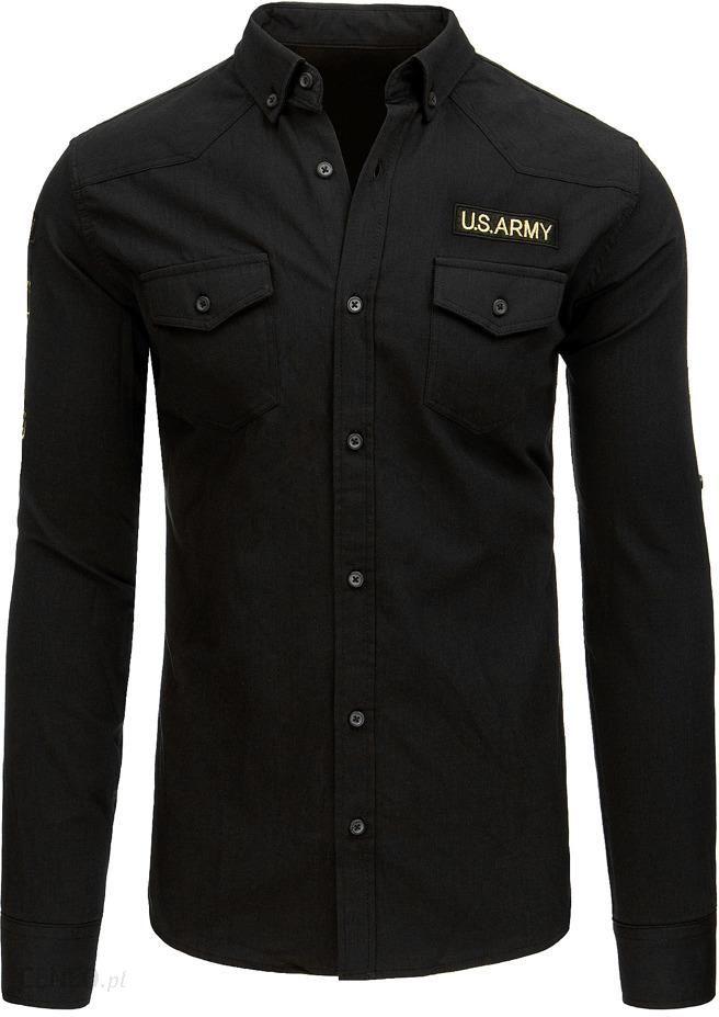 Koszula damska z naszywkami czarna (dx1426) Czarny