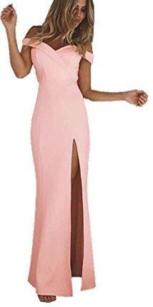 9246493f54 Amazon COCO Fashion damska sukienka nośniki Los Split Maxi Off Shoulder długa  suknia wieczorowa