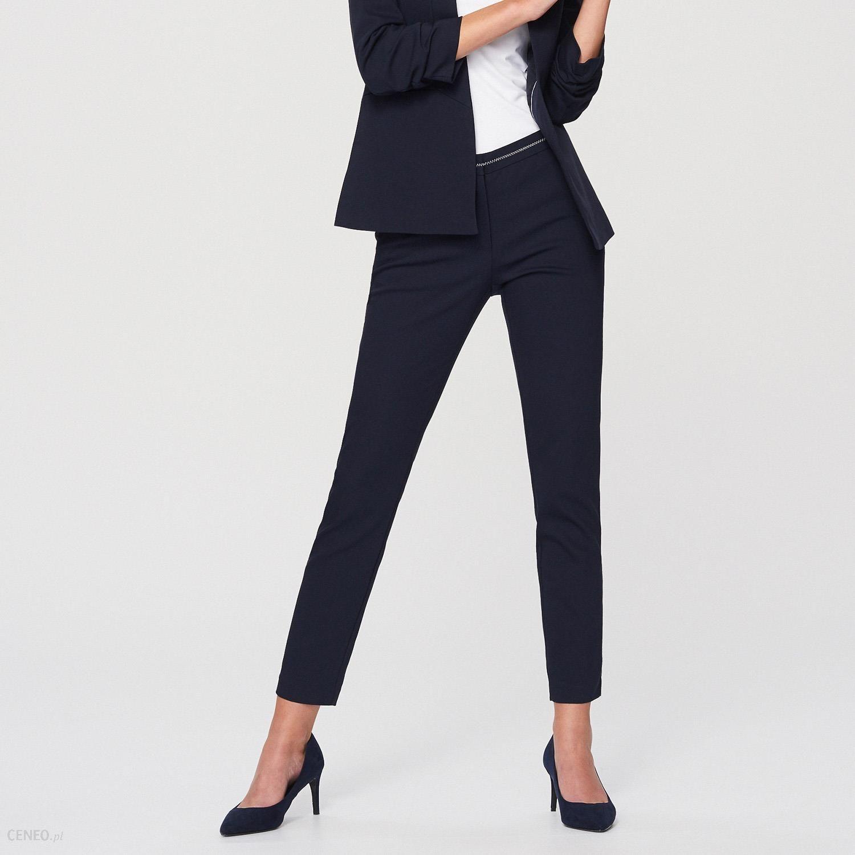 Reserved Eleganckie spodnie z lampasem Granatowy Ceny i opinie Ceneo.pl