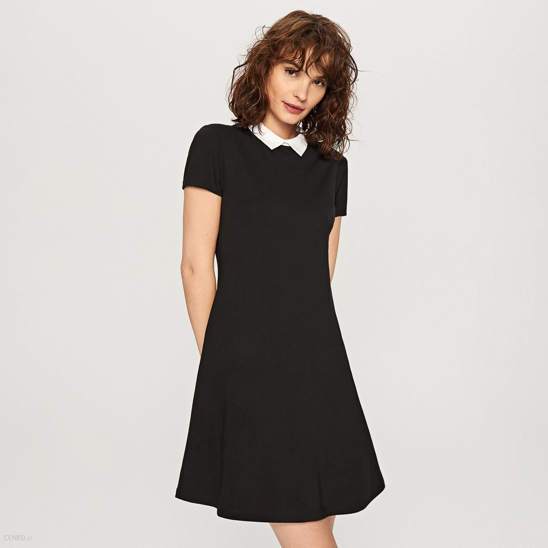 Reserved Sukienka z białym kołnierzem Czarny Ceny i