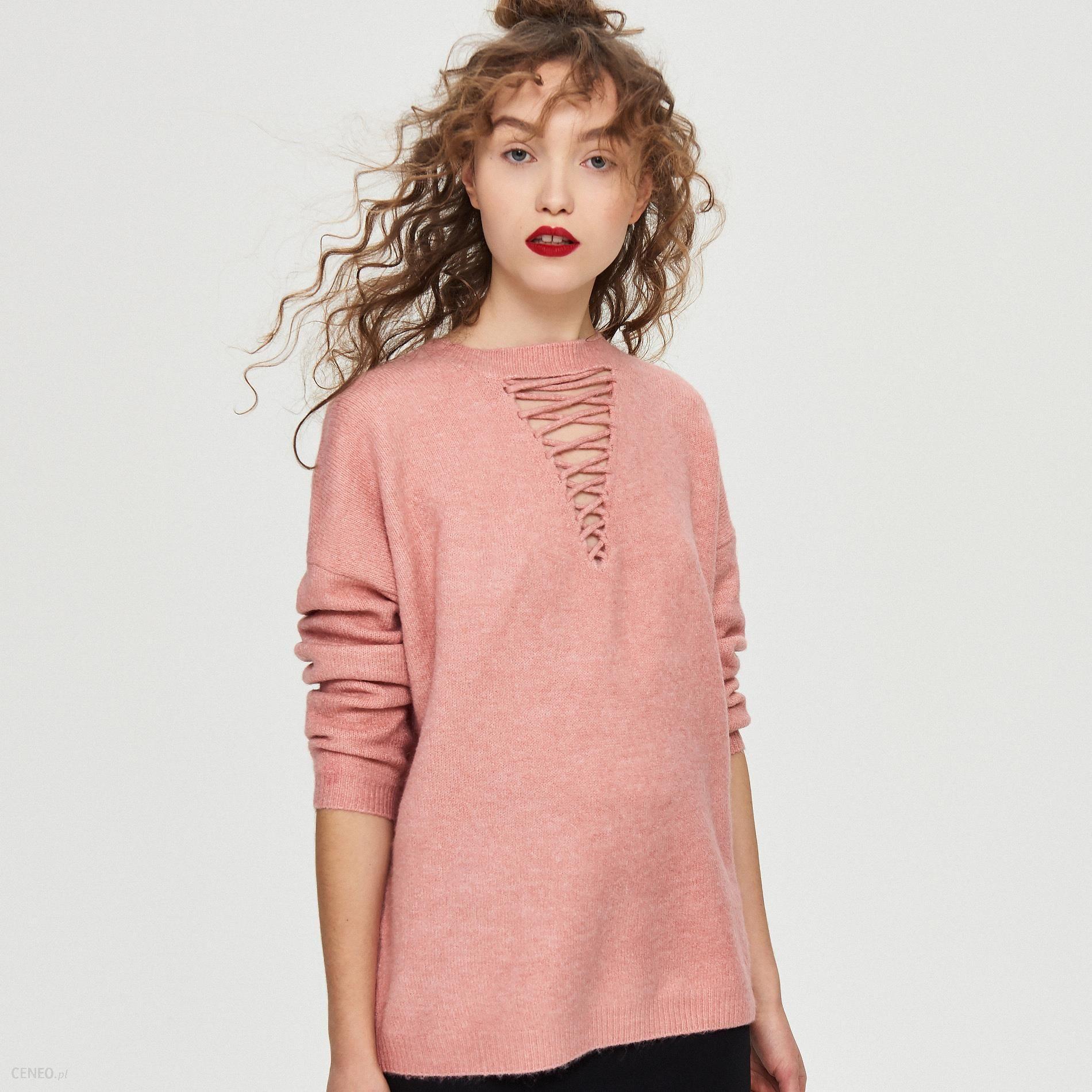 52acc93dbe127b Sinsay - Sweter ze sznurowaniem - Różowy - Ceny i opinie - Ceneo.pl