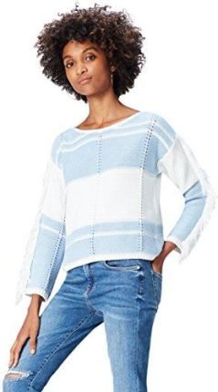 Amazon FIND Damen Pullover Tassel Blau (Sky Blue/White), 42 (Herstellergröße: X-Large)