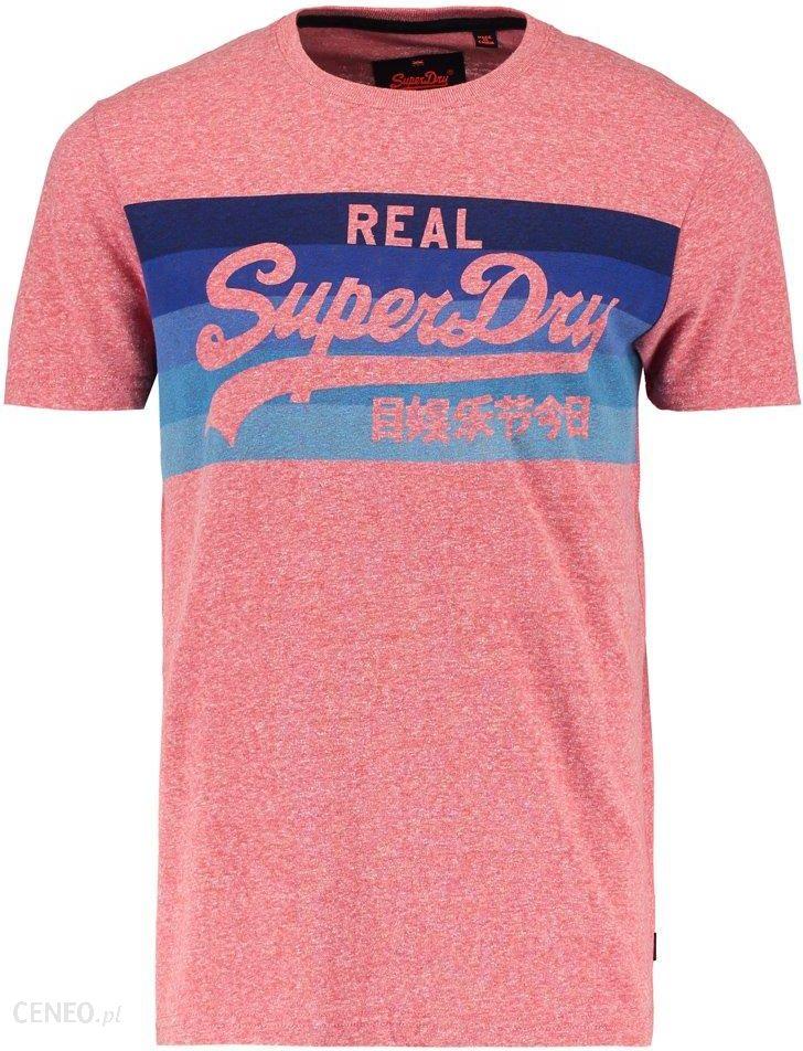 Superdry VINTAGE LOGO CALI STRIPE TEE Tshirt z nadrukiem sunbleached red Ceny i opinie Ceneo.pl