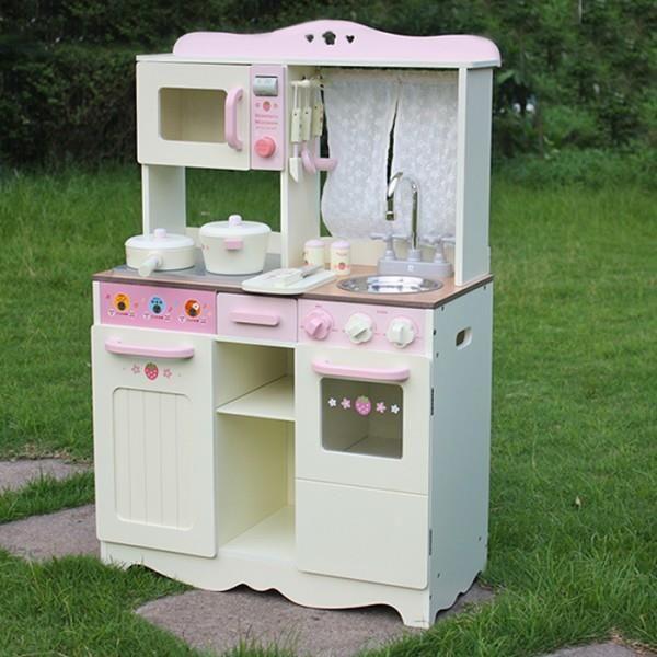 Lean Toys Kuchnia Drewniana Ania Biało Różowa Piekarnik 2259