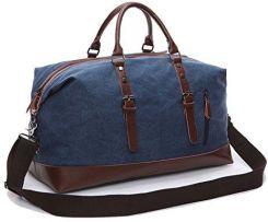 e1b5bf11d0cc4 Amazon fresion Multipurpose Vintage płótno żeglarskie Canvas skórzana  unisex bagaż podręczny torba podróżna torba sportowa w