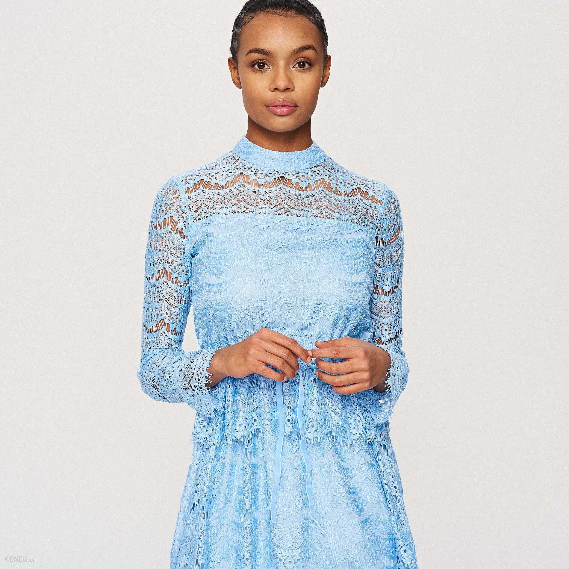 c6986b5aed Reserved - Koronkowa sukienka - Niebieski - Ceny i opinie - Ceneo.pl