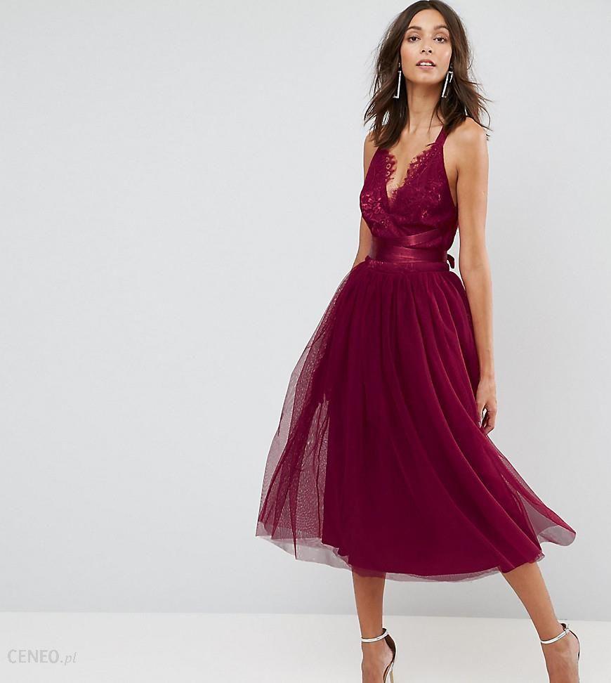 7ad5adff2ae0 Asos Premium Lace Cami Top Tulle Midi Dress