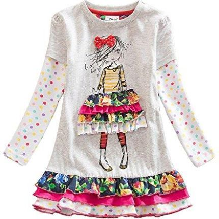 e250140d50 Amazon vikita dziewcząt bawełna Cartoon kwiaty sukienka z długim rękawem 2  – 8 lata