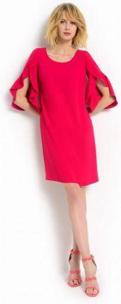 87b4b9fa95 Ptak Moda Trapezowa sukienka z koronkowym rękawem Czerwona r. 48 ...