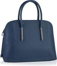 0fac4aafa085f Granatowa torebka damska kuferek z okuciami Odcienie niebieskiego ...