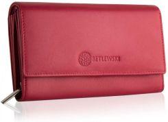 43e72d246f4d1 Czerwony, duży, skórzany portfel damski BETLEWSKI Odcienie czerwonego