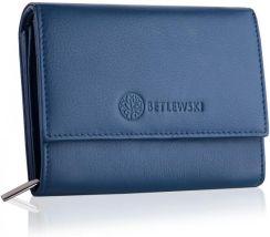 7e9e98d298b10 Niebieski skórzany portfel damski BETLEWSKI Odcienie niebieskiego ...