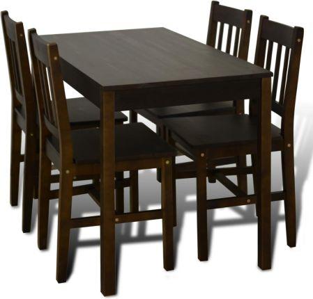 Vidaxl Drewniany Zestaw 4 Krzesła I Stolik Brązowy