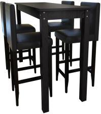 Vidaxl Stolik Barowy Z 4 Krzesłami W Kolorze Czarnym