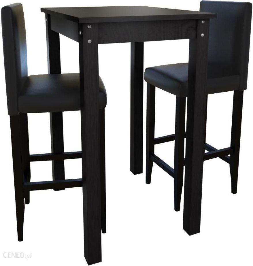Vidaxl Stolik Barowy Z 2 Krzesłami W Kolorze Czarnym