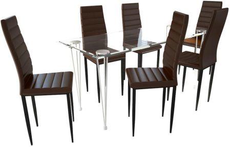 459f61b8d9d9d vidaXL 6 wysokich, brązowych krzeseł do jadalni + stół ze szklanym blatem
