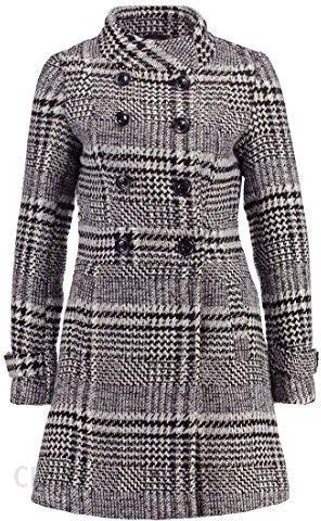 bcdc596f84c513 Amazon ANNA Field krótki płaszcz damski z karo na jesień i zimę płaszcz  zimowy czarno-