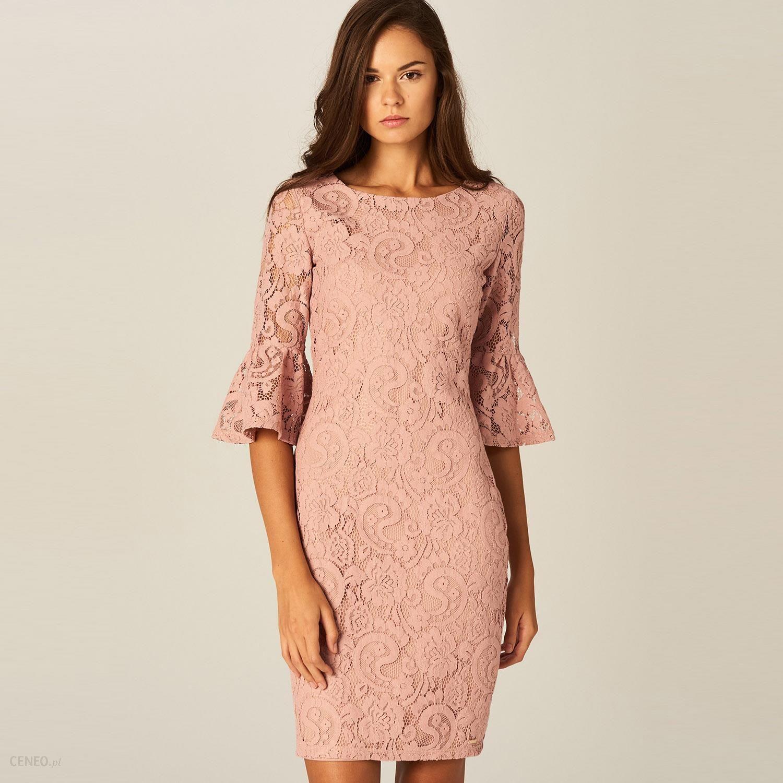 Cudowna Mohito - Ołówkowa sukienka z koronki - Różowy - Ceny i opinie YO26