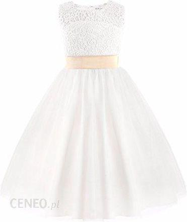 Amazon Iefiel Odświętna Sukienka Dziewczęca Druhny Biały Mocno Ciąg