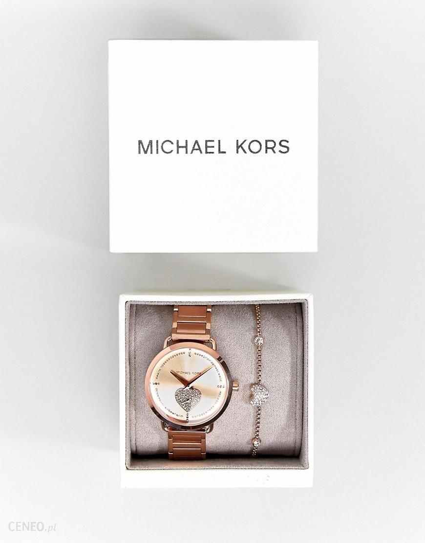 Michael Kors MK3827 Portia Bracelet Watch & Bracelet Gift Set In Rose Gold Gold Ceneo.pl