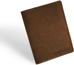 3678551e5afd2 Skórzany cienki portfel slim wallet BRODRENE SW04 jasnobrązowy - j. brązowy  - zdjęcie 1