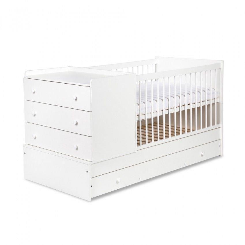 meble dla dzieci klupś Łóżeczko-Łóżko-komoda 3w1 kompakt biel - klupś