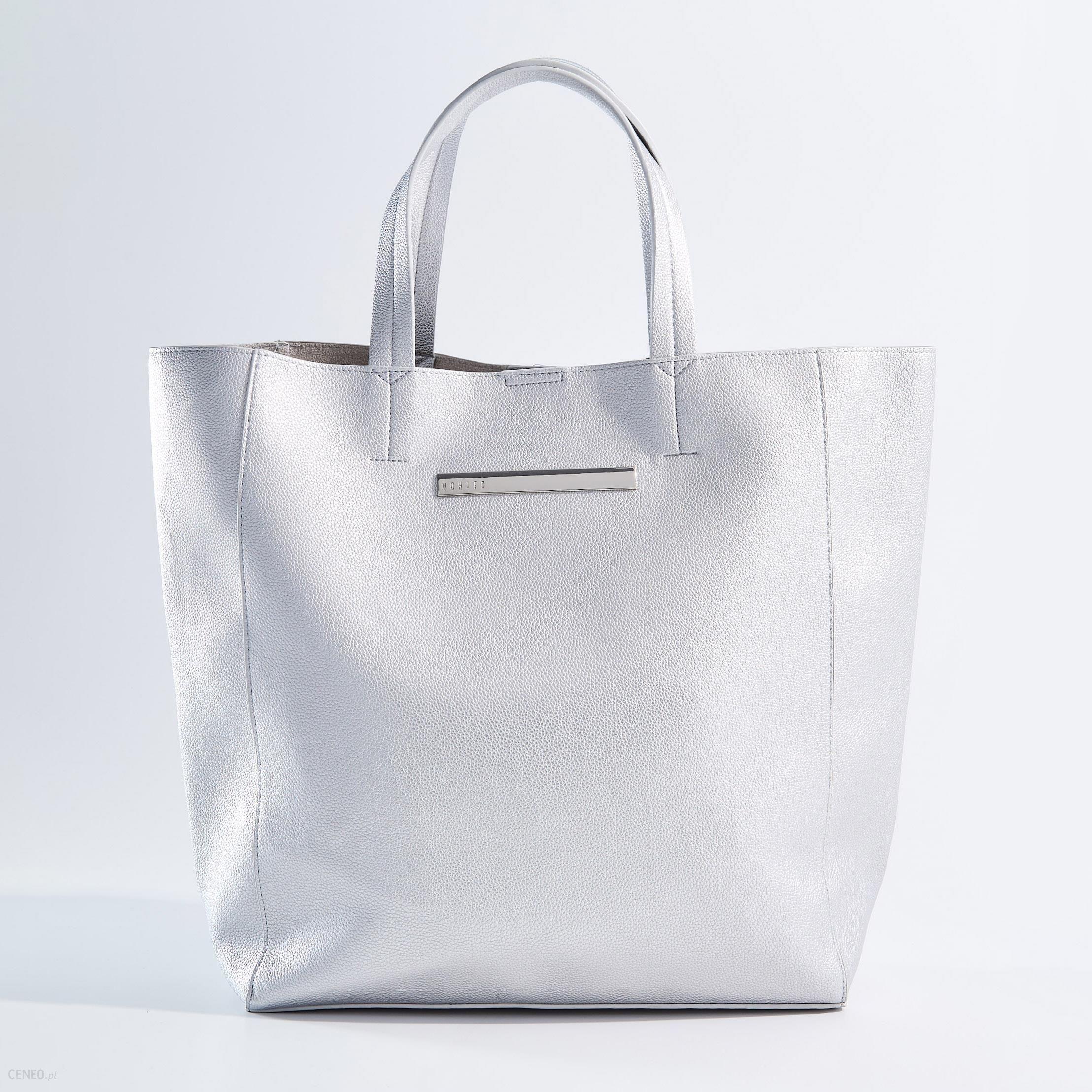 1fa68cc591004 Mohito - Duża torba shopper z kosmetyczką - Srebrny - Ceny i opinie ...