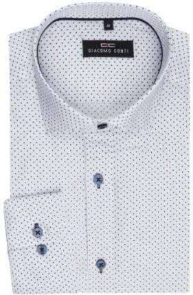 a3cec50b60 Biała koszula męska w granatowe kropki szyta na miarę 100% bawełna ...