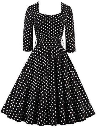 10007d22bb Amazon Best Fort damska sukienka Dress 50S retro vintage sukienka letnia  przewód o długości do kolan