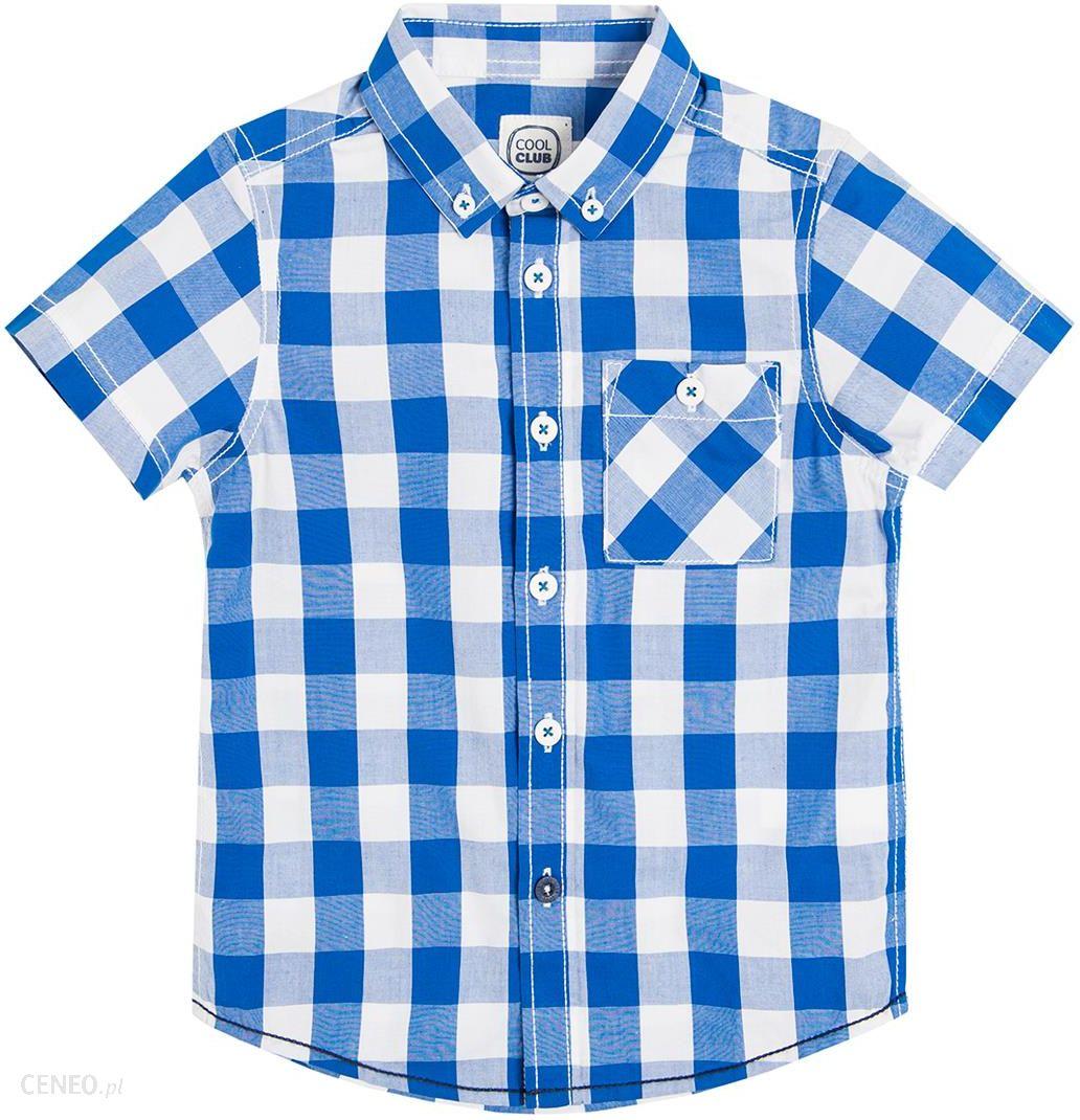 26252f5b0 Cool Club, Koszula chłopięca z krótkim rękawem biało-niebieska krata -  zdjęcie 1