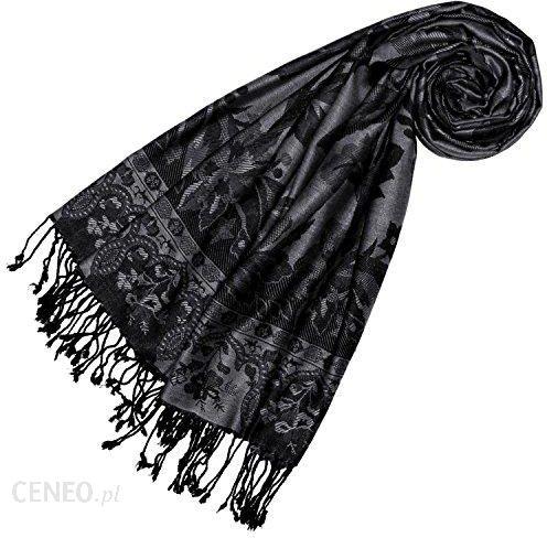 2d2f58c85c7586 Amazon Lorenzo Cana markowe włókno naturalne szal Pashmina wzór kwiecisty  kwiaty czarno-szara ukradł szal