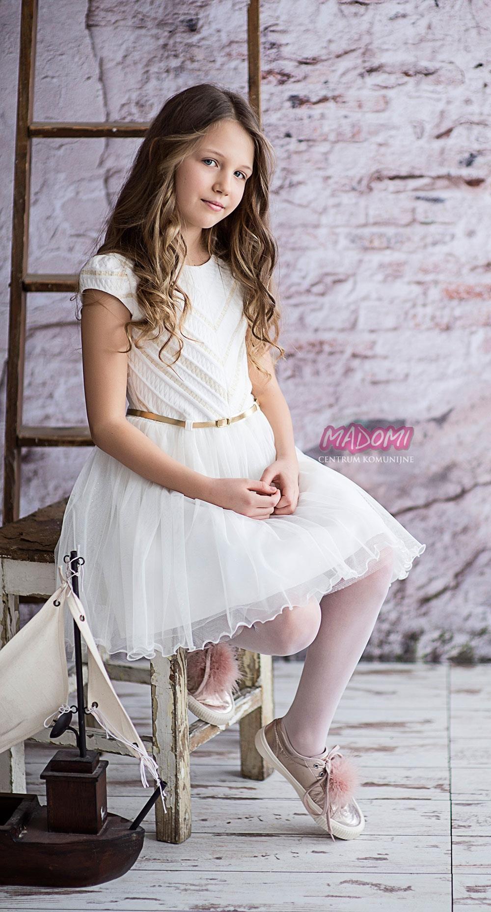 df57d54ffe Sukienka dziewczęca kremowa model Astra - Ceny i opinie - Ceneo.pl
