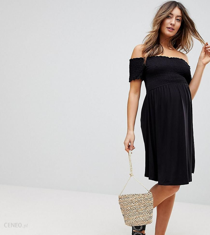 eea2d71dcf8 ASOS MATERNITY Off Shoulder Sundress with Shirring - Black - zdjęcie 1