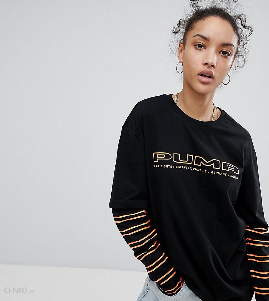 1cdef3f6a9d9 Puma Exclusive To ASOS Long Sleeve Towfer T-Shirt With Stripe Sleeves In  Black -